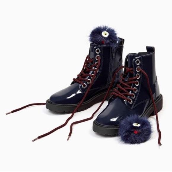 • blue with girls navy patent boots pompoms zara TlKJcF1